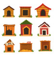 wooden dog house set dogs kennel cartoon vector image vector image