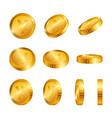 yen gold coins isolated on white background vector image vector image