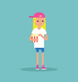 young blond girl chewing popcorn full length vector image