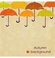 Autumn background with umbrellas vector image