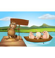 A beaver at the port holding an empty signboard vector image vector image