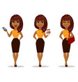 african american business woman cartoon character vector image vector image
