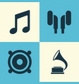 audio icons set collection of music phonograph vector image vector image