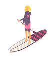 beautiful girl in springsuit on a longboard vector image vector image