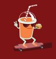 beverage character skating vector image