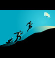 businessmen racing uphill to seize the flag vector image