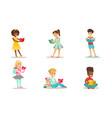 children reading books set smiling boys and girls vector image vector image