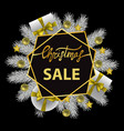 christmas sale card with gold lettering and white vector image vector image