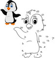 connect a number to draw a cute animal penguin vector image