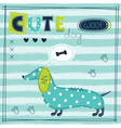 cute baby background with funny dog vector image vector image