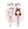 cute girls friends vector image