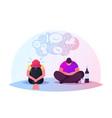 drunk characters sitting on floor in depressed vector image vector image