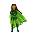 ecological superhero woman standing with folded vector image vector image