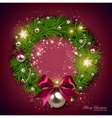 Elegant Christmas wreath with stars and bow vector image vector image