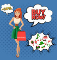 female accessories sale comic bubbles vector image