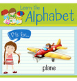 Flashcard letter P is for plane vector image