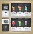 flat cocktail menu concept design vector image vector image