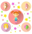 girl doll toy flat icon with vector image vector image