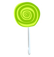 green lollipop on white background vector image