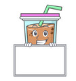 grinning with board bubble tea character cartoon vector image vector image