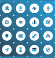 interface icons colored set with mail find vector image