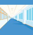 interior of school hall with blue floor windows vector image vector image