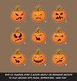 Jack O Lantern Cartoon 9 Angry Expressions Set vector image vector image