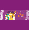 jazz day banner of live band in concert event vector image vector image