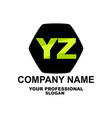 letter logo two letters y and z vector image vector image
