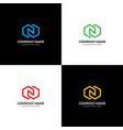 letter n in rhombus logo icon design vector image vector image