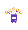 logistics icon van and delivery points vector image vector image