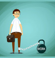 man chained to weight vector image