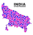 Mosaic uttar pradesh state map of round dots