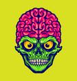 our brains skull mascot logo vector image vector image