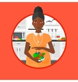 Pregnant woman with vegetables and fruits vector image