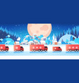 red trucks delivering gifts merry christmas happy vector image vector image