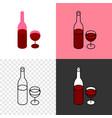red wine bottle with glass icon thin line style vector image vector image