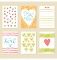 Romantic hand drawn card set Collection of vector image