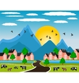 Rural landscape with small town in mountain vector image vector image