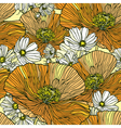 Seamless pattern with flowers daisies and poppies vector image