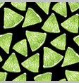 seamless pattern with lime fruit triangle shape vector image