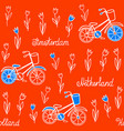 seamless pattern with tulips and bicycles vector image vector image