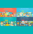 seo horizontal flat concept design banners set vector image