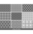 Set of nine monochrome Arabic patterns vector image