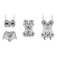 set of retro lingerie pieces made of linear vector image