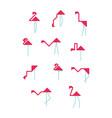set pink geometric minimalist flamingos logo vector image