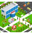 Shopping mall center isometric banner vector image vector image