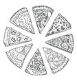 sliced hot pizza hand drawing in doodle style vector image vector image