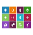 Smart gadget on hand icons on color background vector image