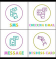 sms and checking mail set vector image vector image
